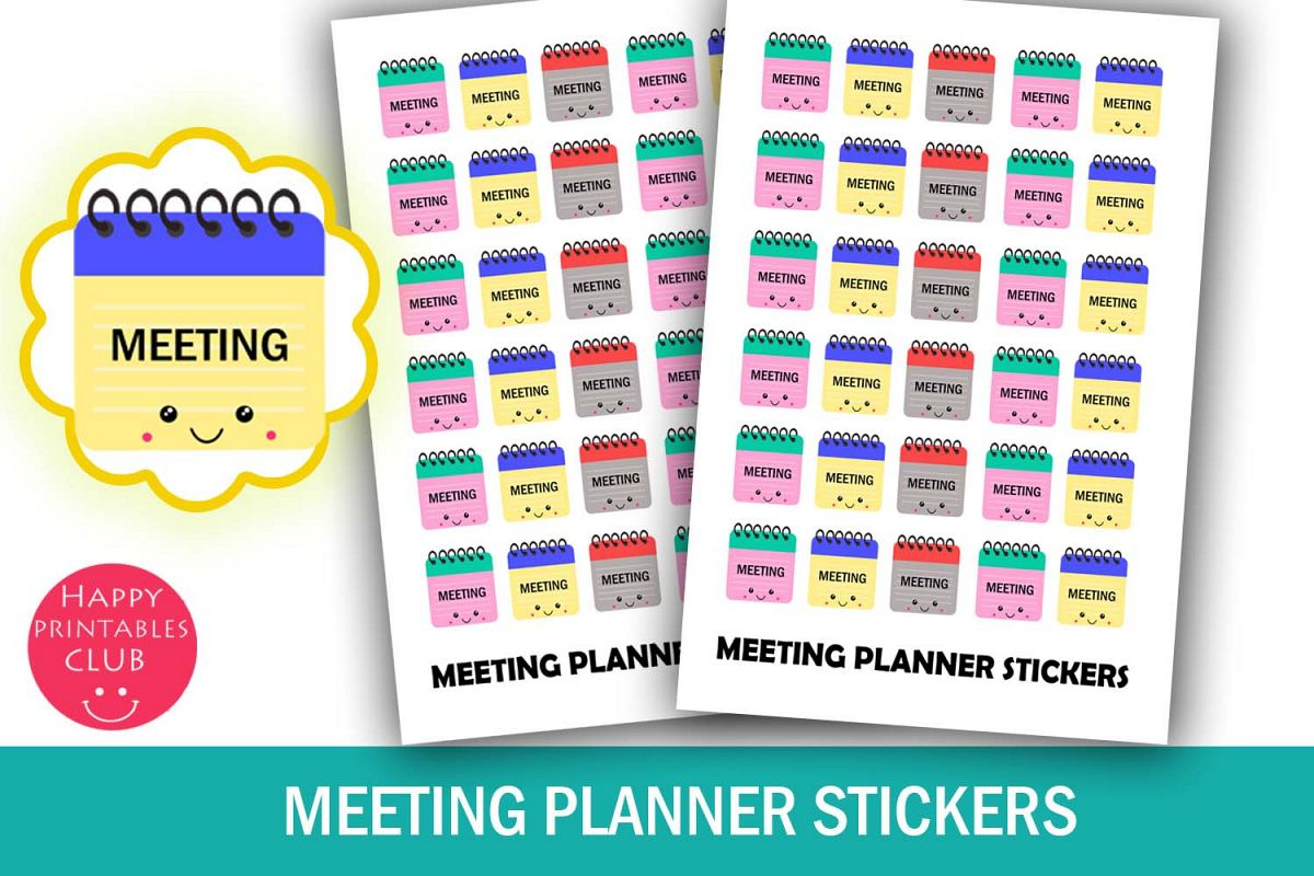 Meeting Planner Stickers- Meeting Reminder Stickers-Kawaii example image 1