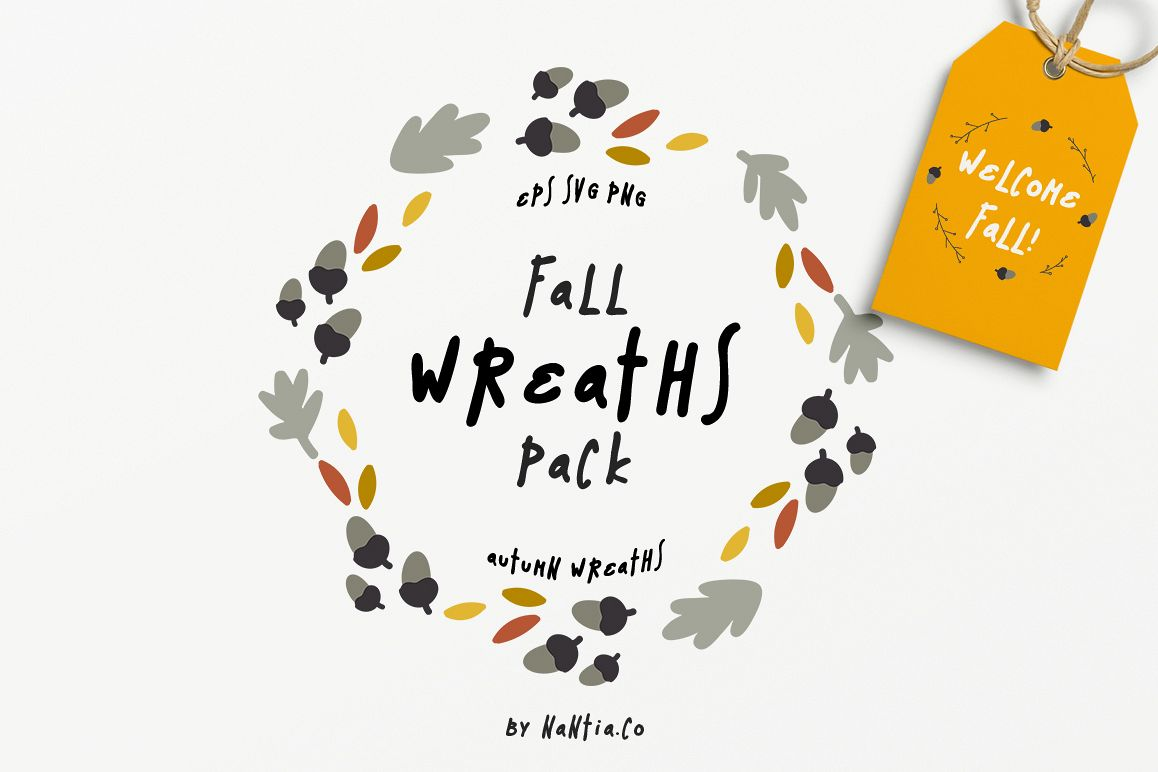 30 Fall Wreaths Vector Pack example image 1