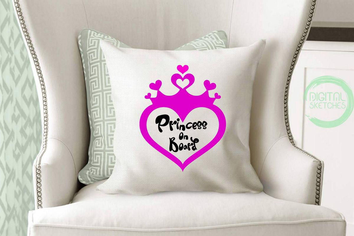 Princess On Board Heart Cut File Vector Graphics example image 1