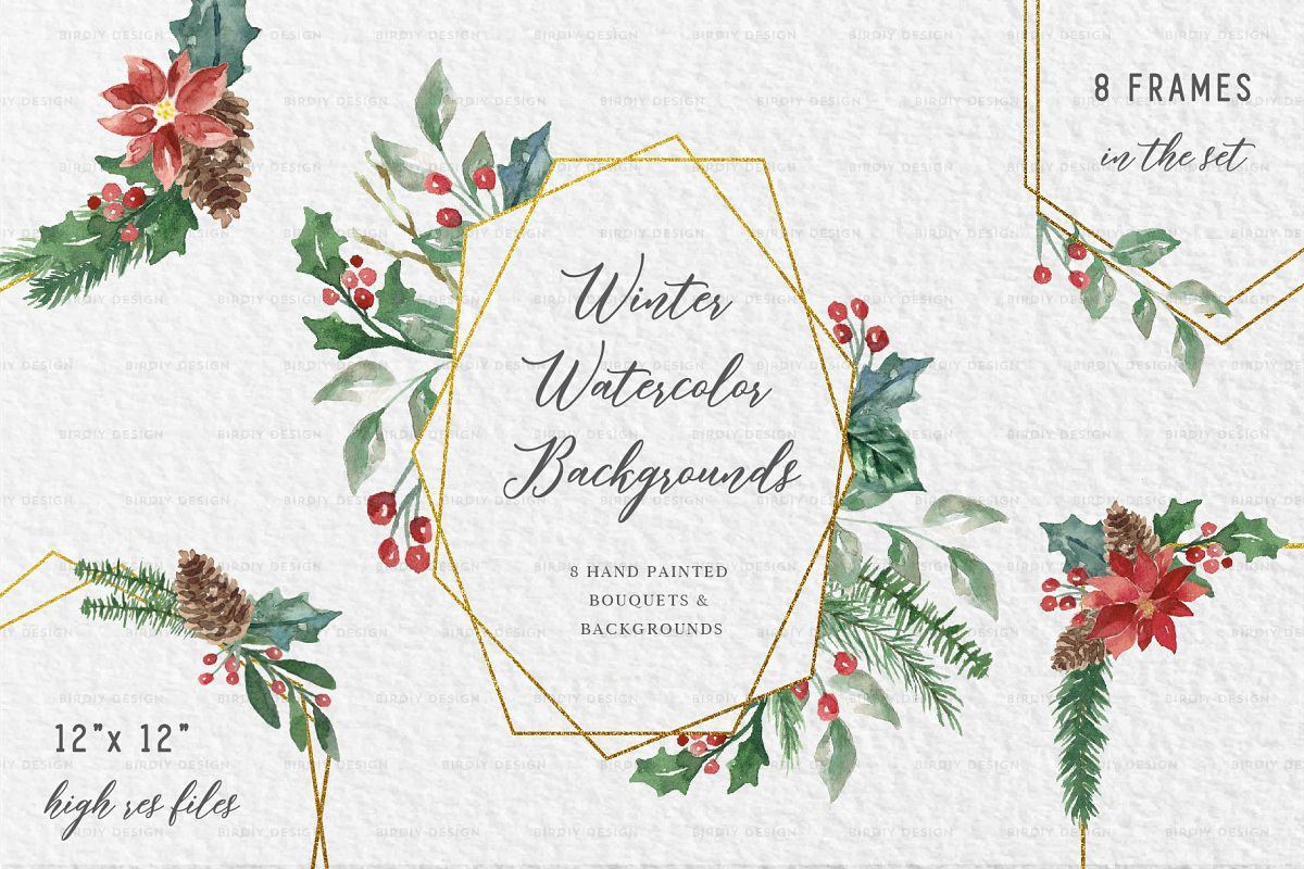 Winter Watercolor Frame Backgrounds example image 1