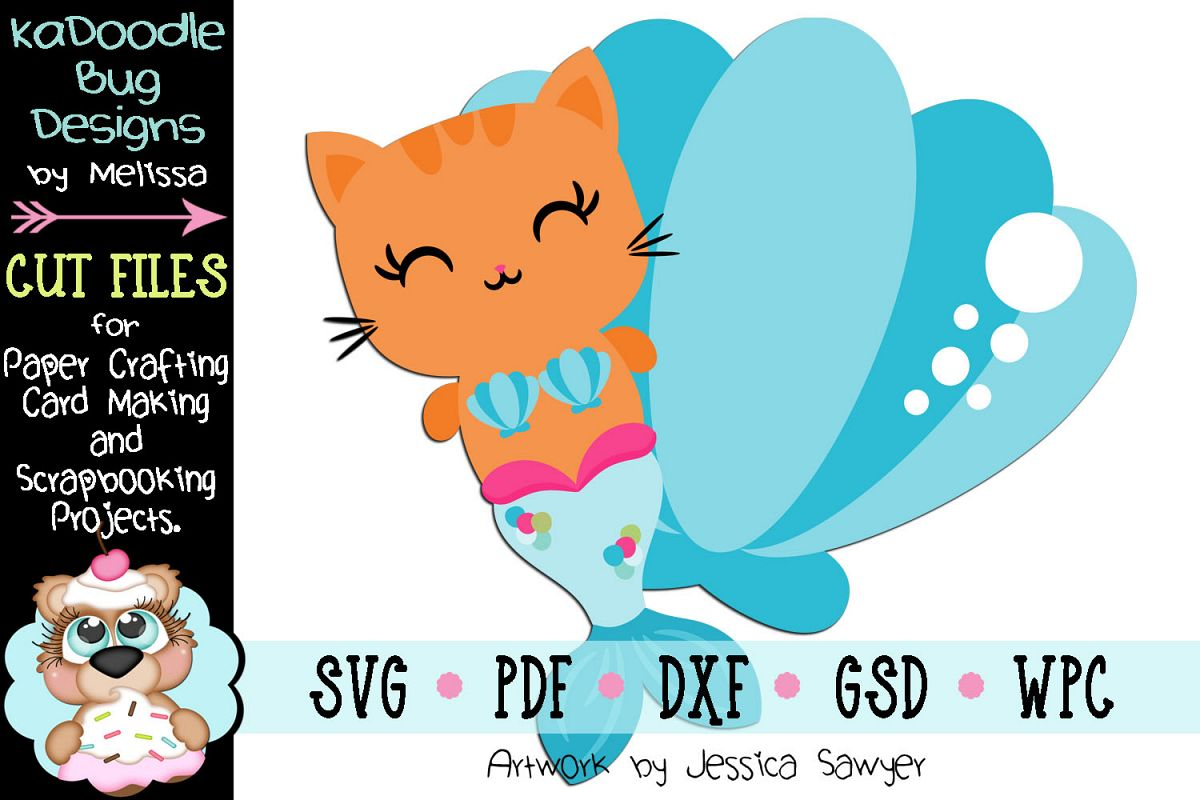 Mermaid Cat Cut File - SVG PDF DXF GSD WPC example image 1