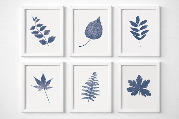 navy blue wall art set of 6 prints se design bundles