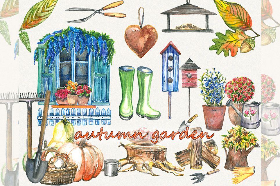 Garden clipart, spring clipart, garden tools, watercolor example image 1
