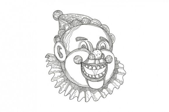 Vintage Circus Clown Head Doodle example image 1