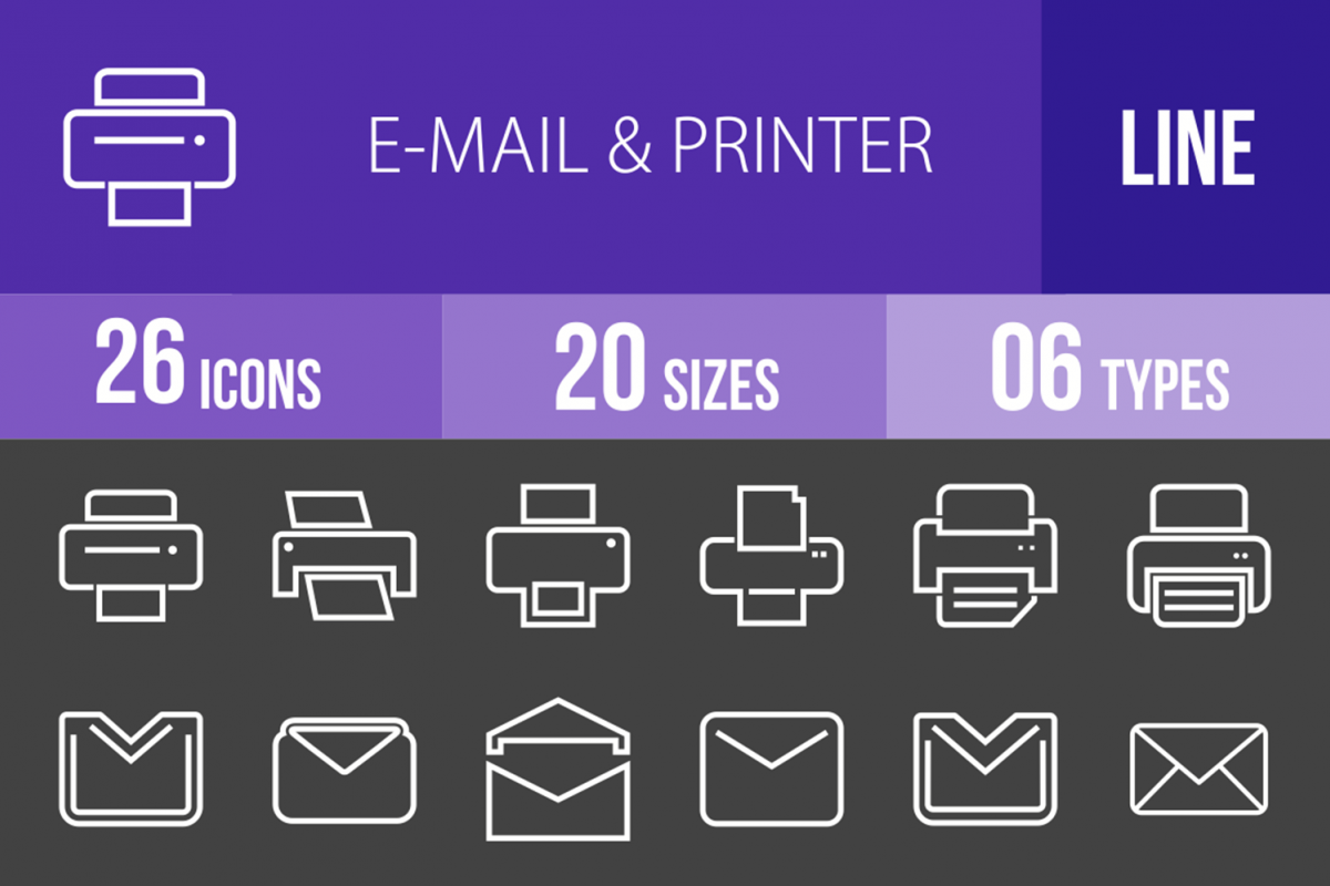 26 Email & Printer Line Inverted Icons example image 1