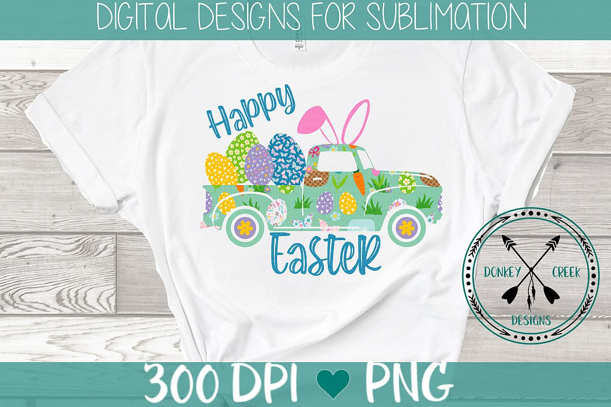 Happy Easter Vintage Truck sublimation design example image 1