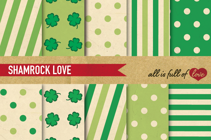 St Patrick's Digital Paper Green Background Patterns with Vintage Paper example image 1