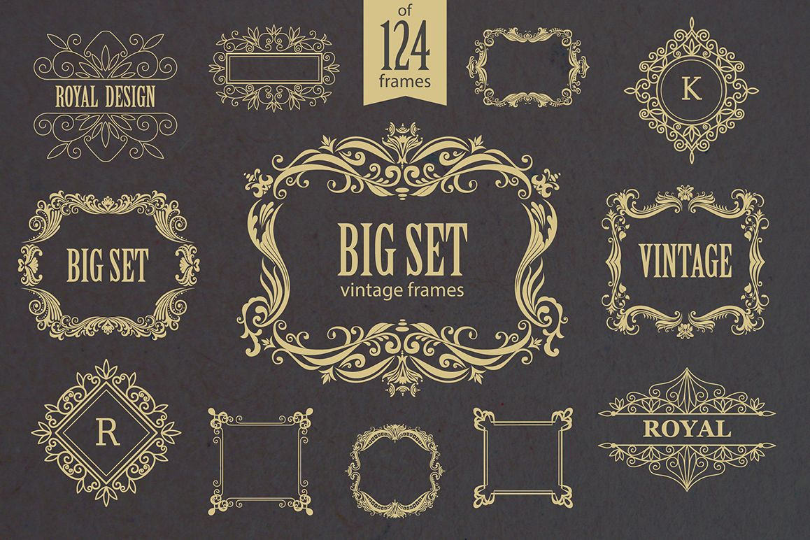Set of vintage frames and monograms example image 1