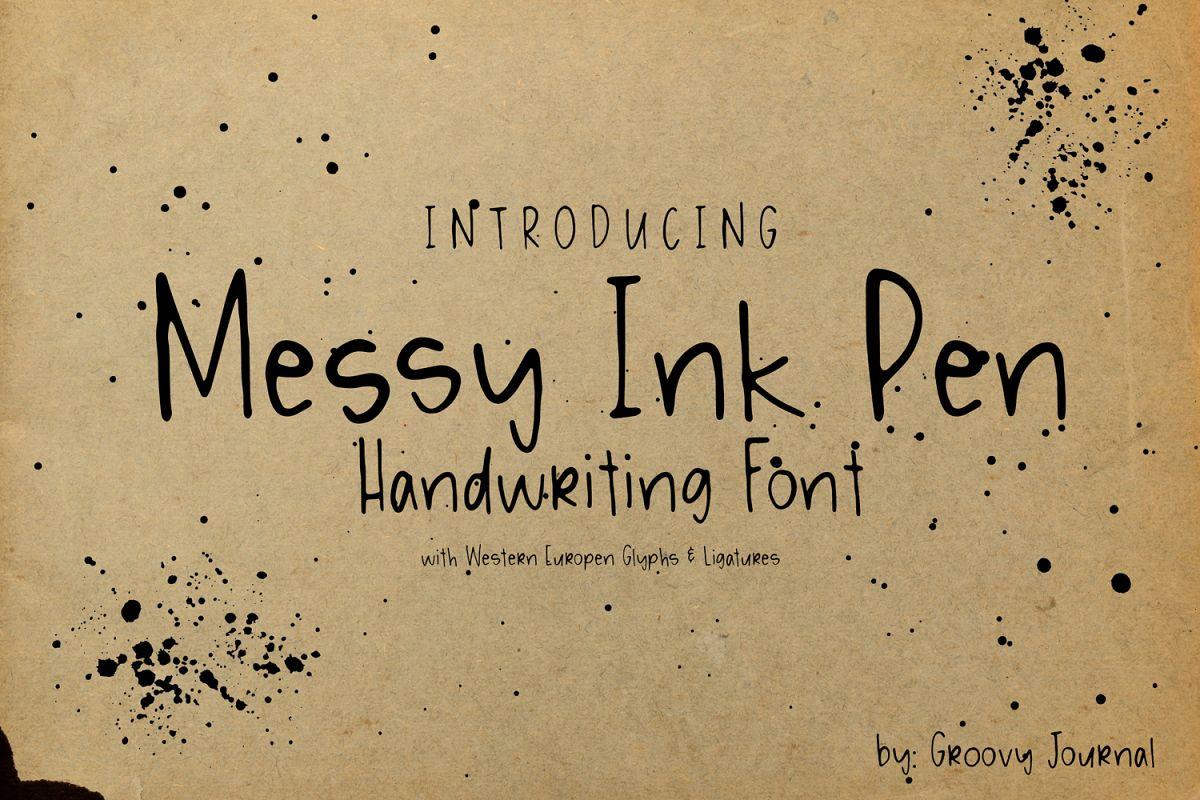 Messy Ink Pen Handwritten Font example image 1