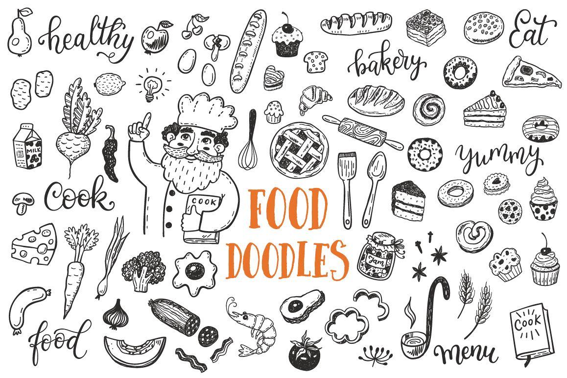 Food dooles set + patterns example image 1