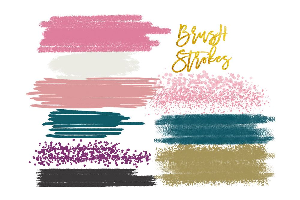 Digital watercolor brush strokes, acrylic brush, digital brush stroke, digital brush stroke, brush strokes clipart set, elements clipart example image 1