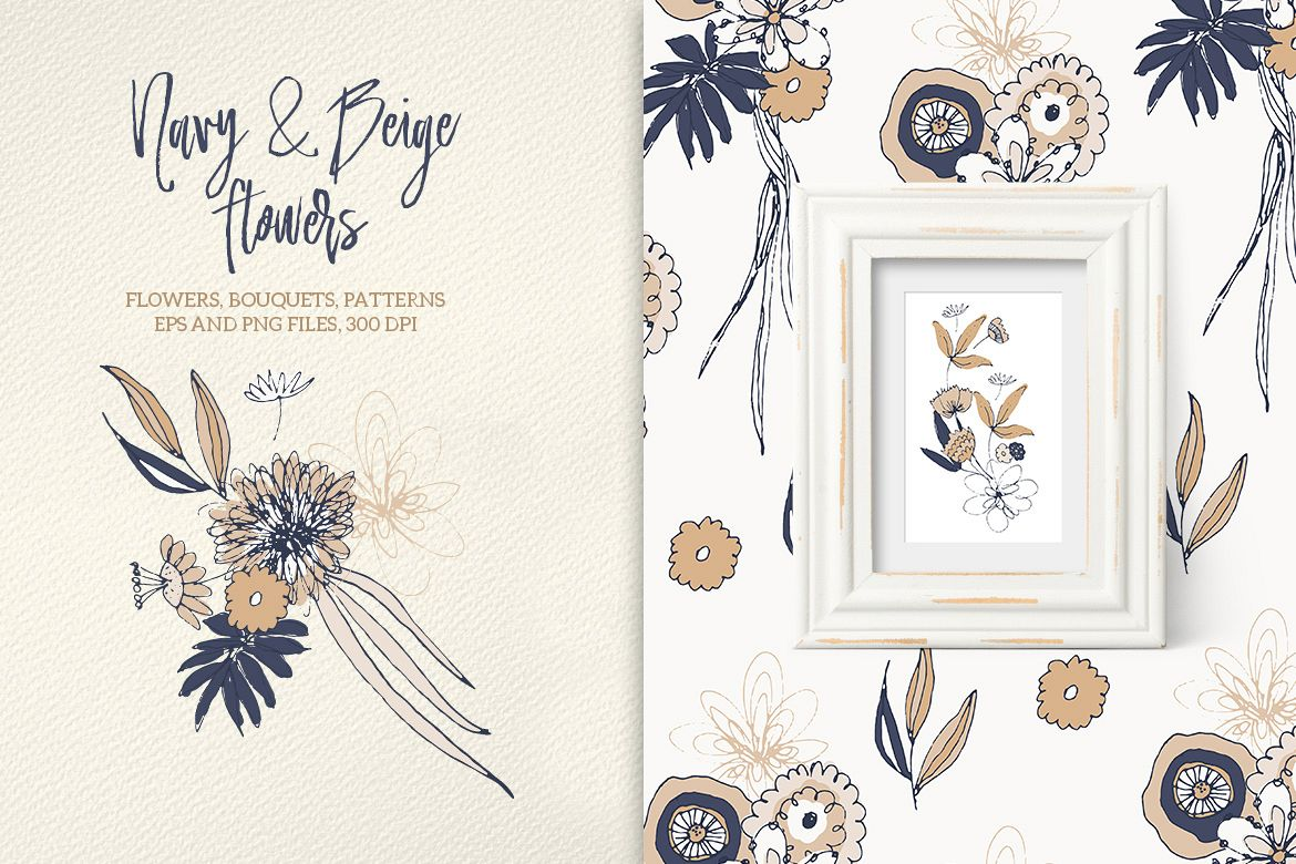 Navy and Beige Flowers example image 1