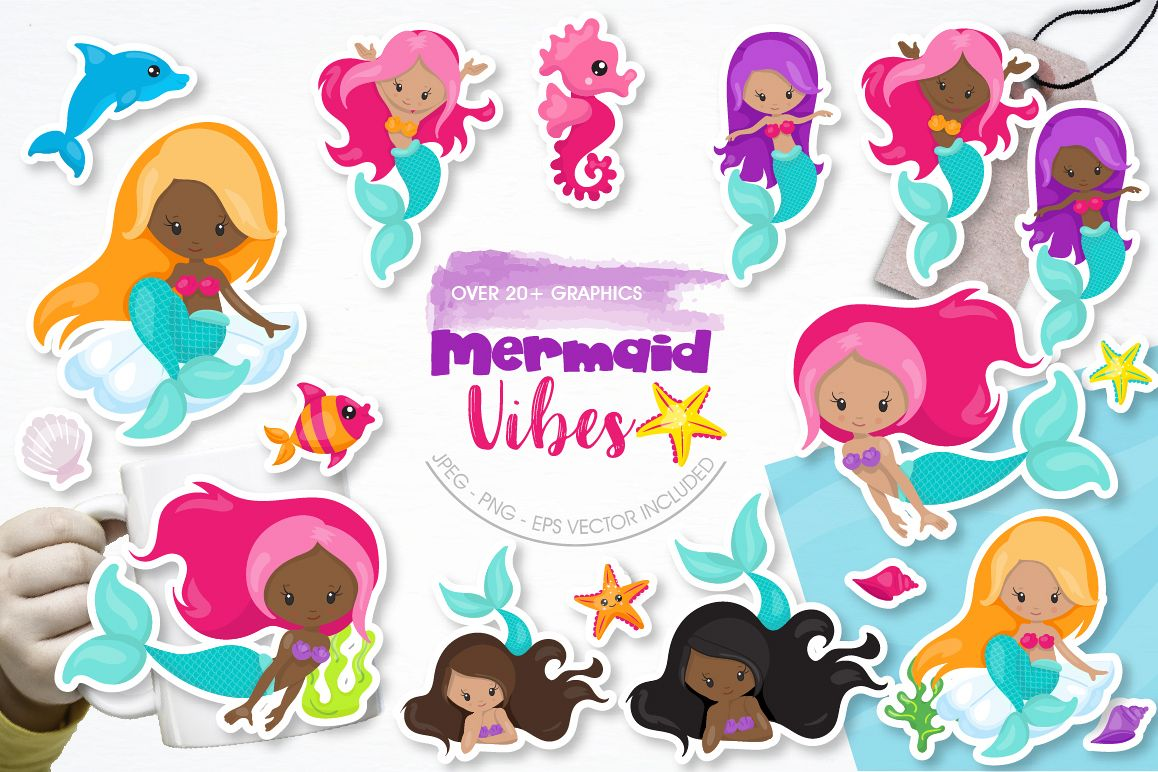 Mermaid Vibes graphic and illustrations example image 1