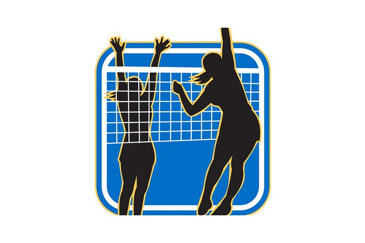 Volleyball Player Spiking Blocking Ball example image 1