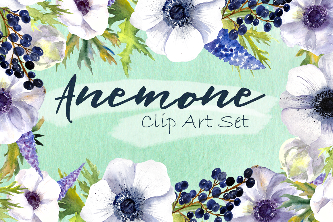 Watercolor Anemone Clipart Set example image 1