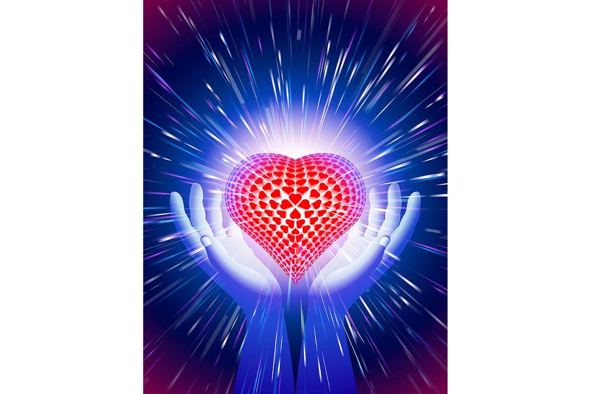 Vector Hand Heart Light Beam Magic Power Love Background Blue example image 1