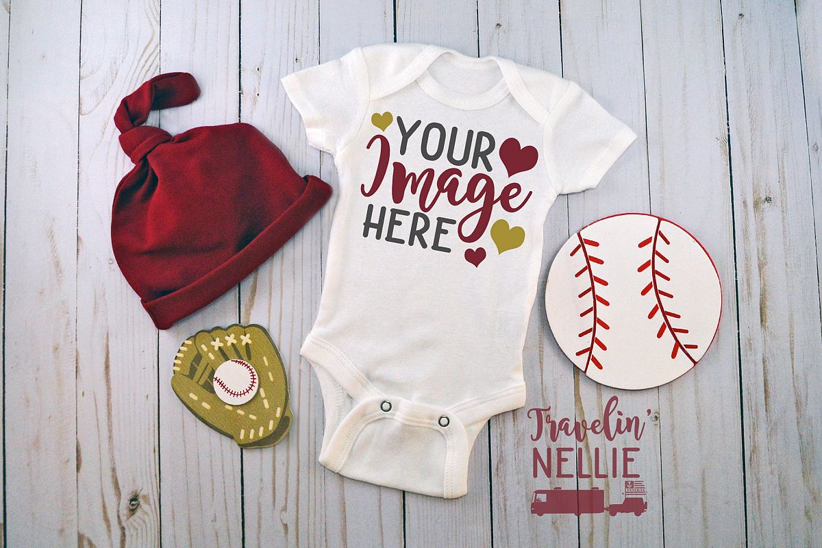White Bodysuit Mockup One Piece Styled Baby Boy Baseball Hat example image 1