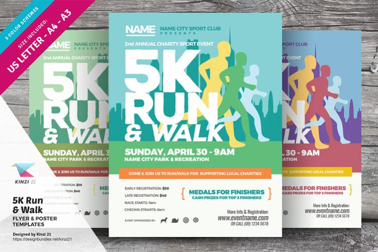 5K Run & Walk Flyer & Poster Templates example image 1