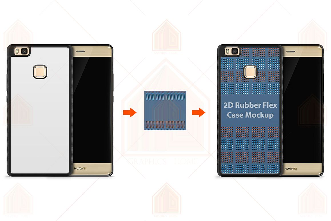 Huawei P9 Lite 2d RubberFlex Case Design Mockup Back-Front example image 1