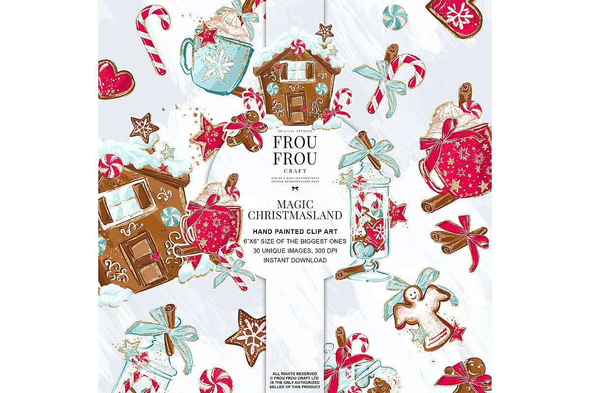 Christmas Winter Ginger Bread Sugar Cane Clip Art example image 1