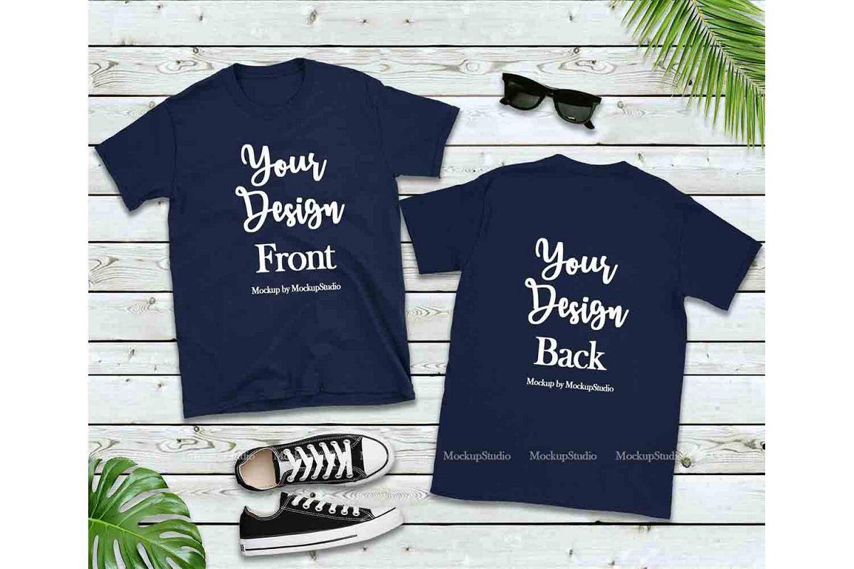 Front & Back Navy Tshirt Mockup, Gildan 64000 Shirt Mock Up example image 1