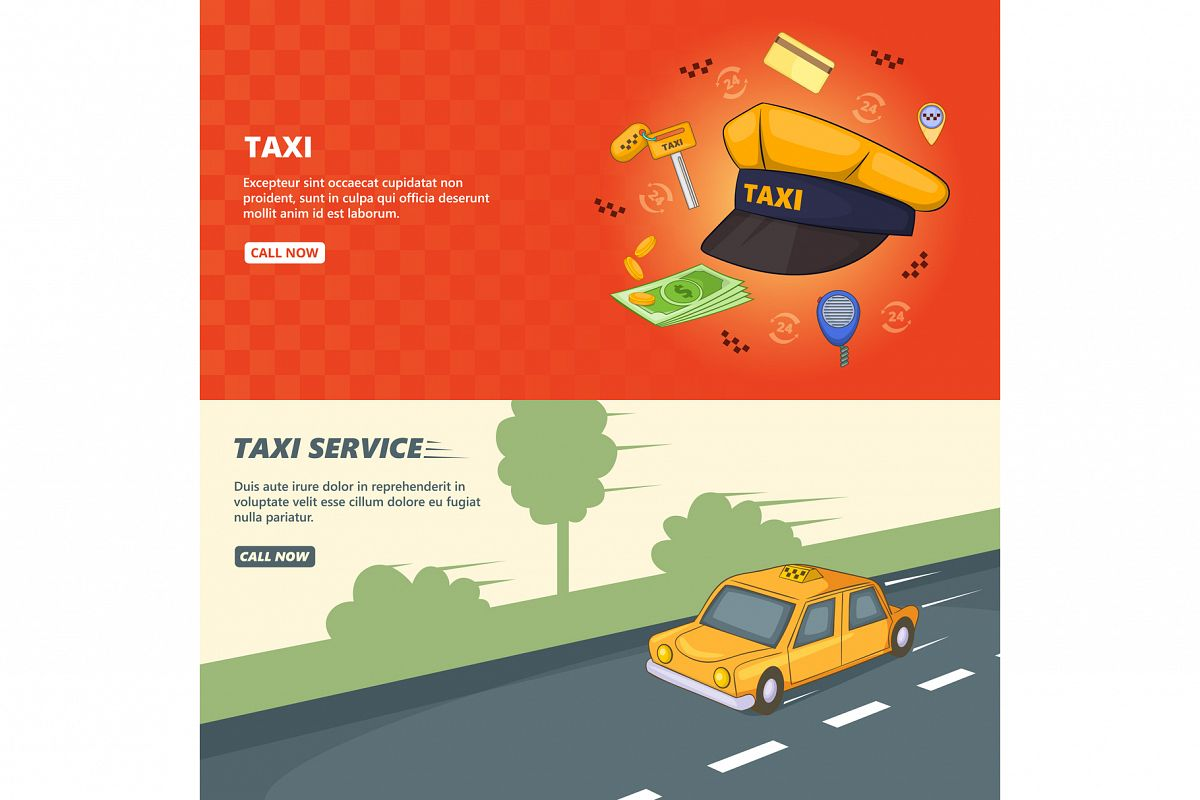 Taxi service banner set template, cartoon style example image 1