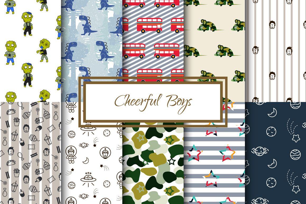 Cheerful Boys - Seamless Patterns example image 1