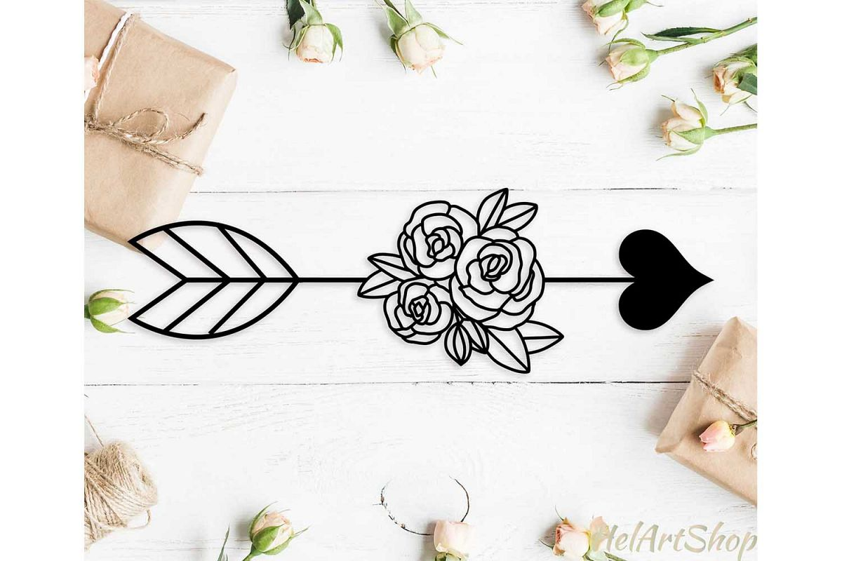 Floral Heart Arrow svg cutting file example image 1