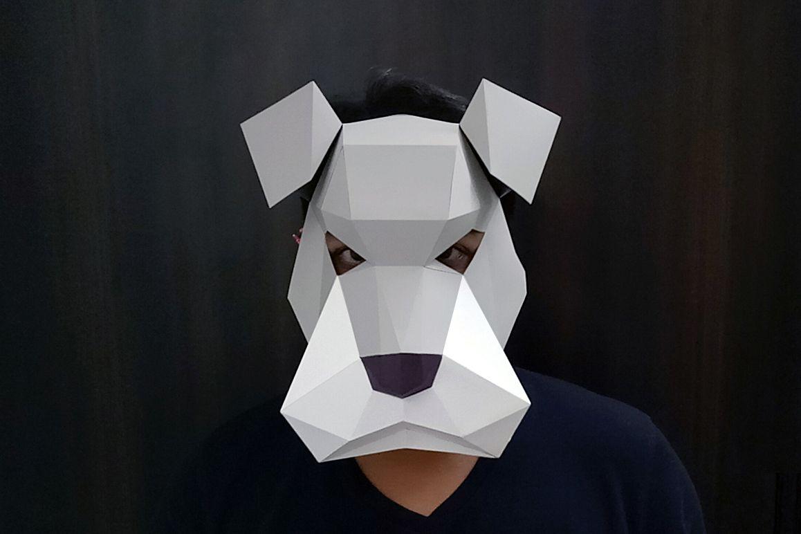 DIY Schnauzer Mask - 3d papercraft example image 1