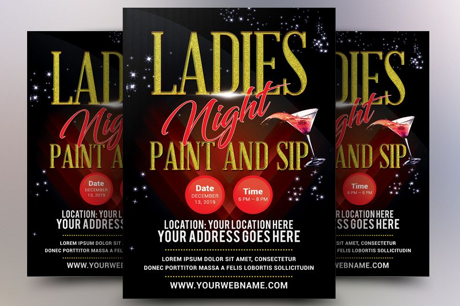 Ladies Night Paint and Sip Flyer example image 1
