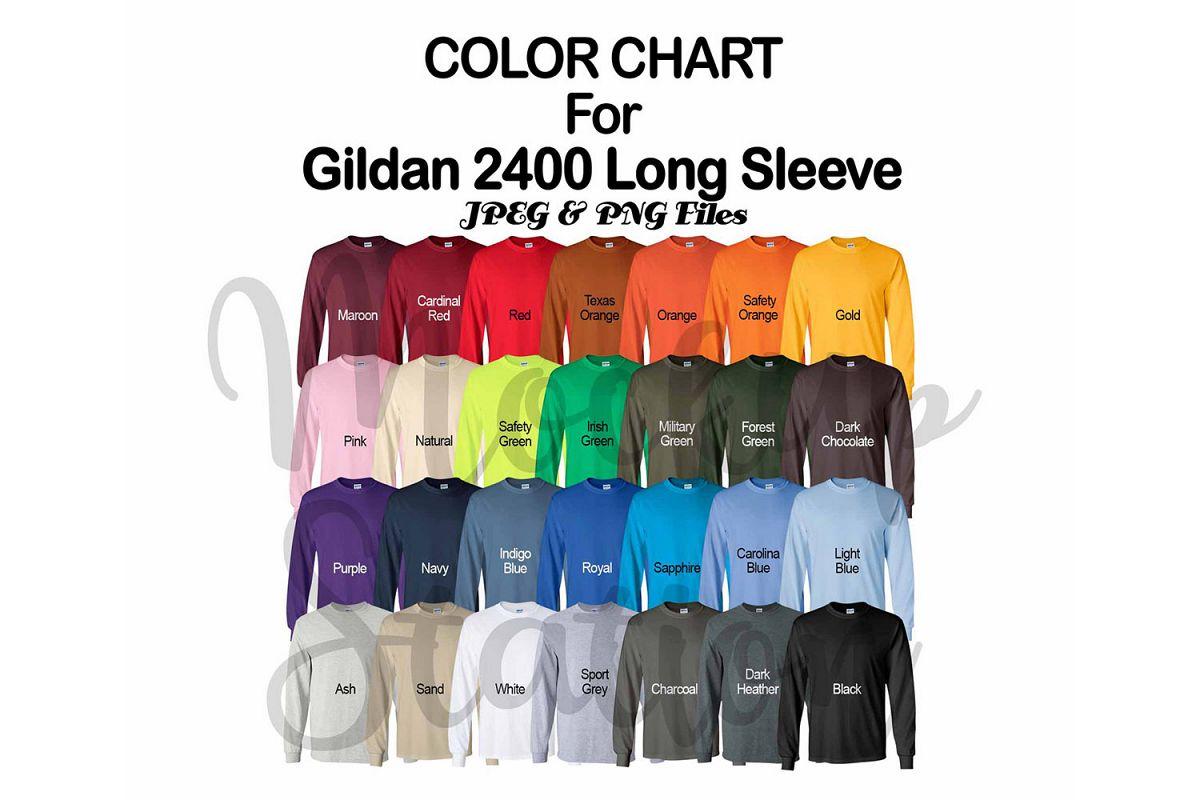 Color Chart for Gildan 2400 Long Sleeve T-shirt example image 1