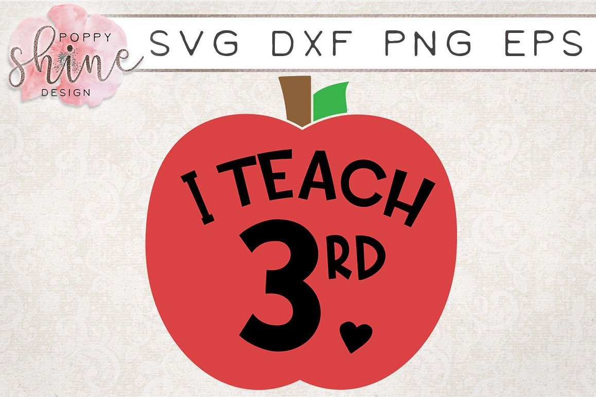 I Teach 3rd SVG PNG EPS DXF Cutting Files example image 1