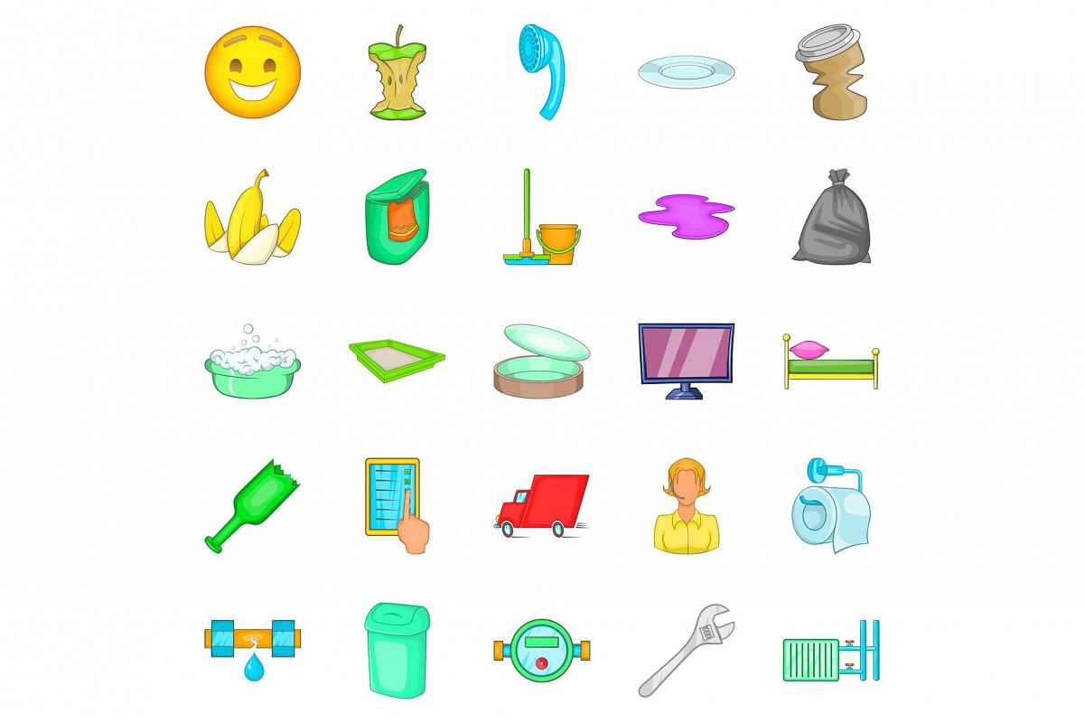 Cleaning service icons set, cartoon style example image 1