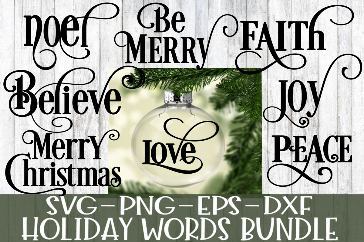 Holiday Christmas Words Bundle - 8 Words Included example image 1