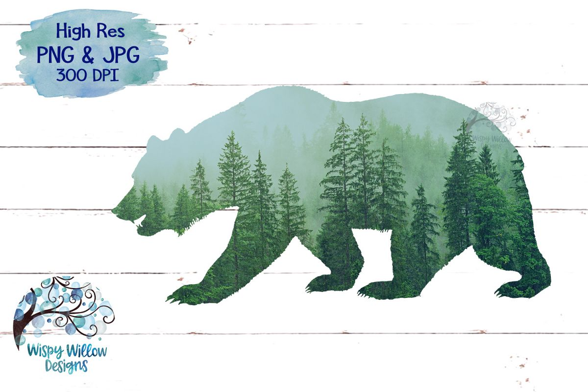 Forest Bear PNG | Sublimation | Clipart example image 1