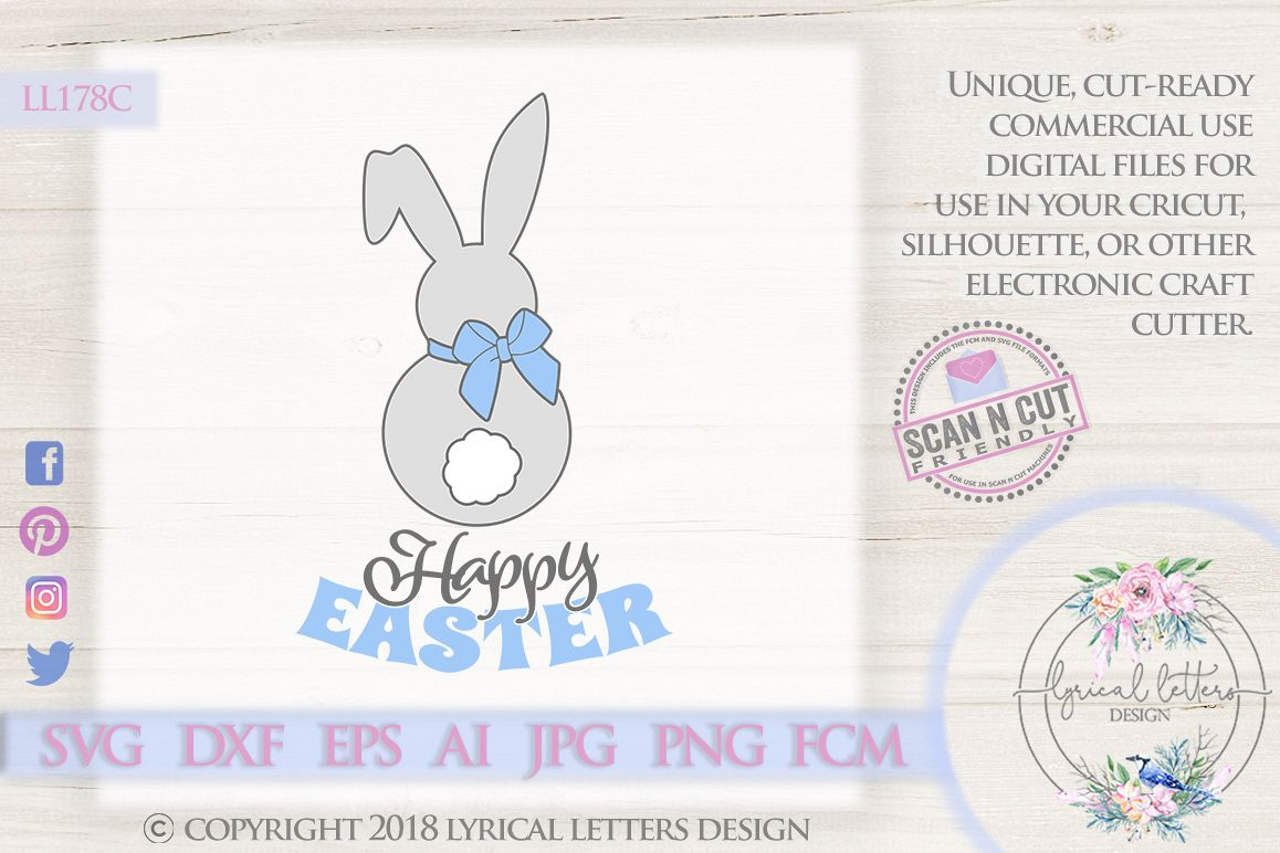 Happy Easter Bunny Tail SVG DXF Cut File LL178C example image 1