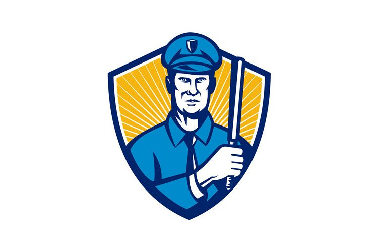 Policeman Police Officer Baton Shield Retro example image 1