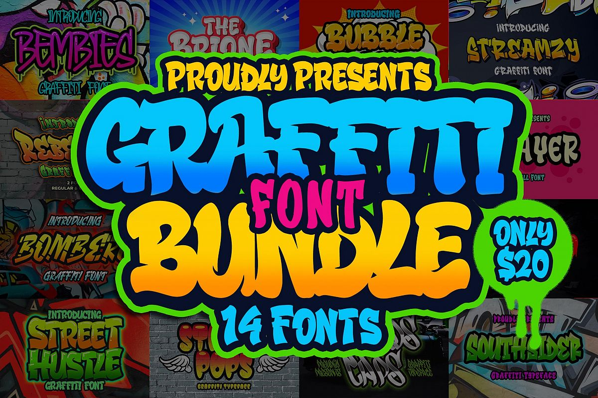 Graffiti Font Bundle example image 1