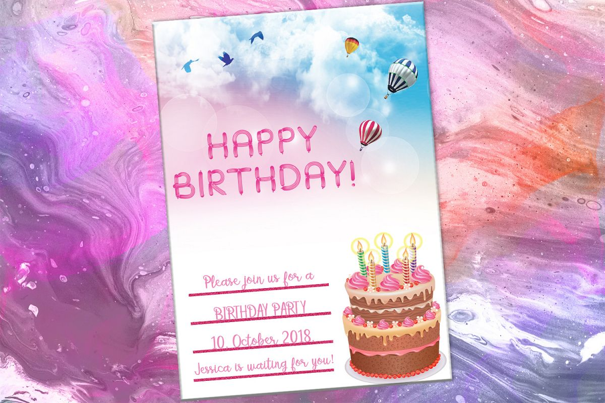 Happy Birthday Card Party Digital Download SALE OFF Example Image 1