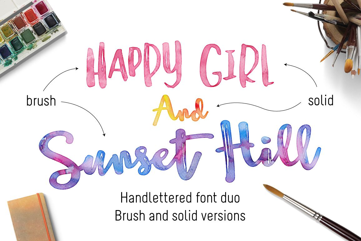 Happy Girl & Sunset Hill Font Duo example image 1