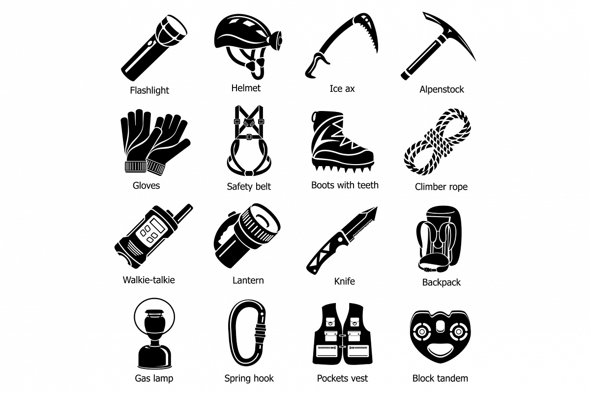 Speleology equipment icons set, simple style example image 1