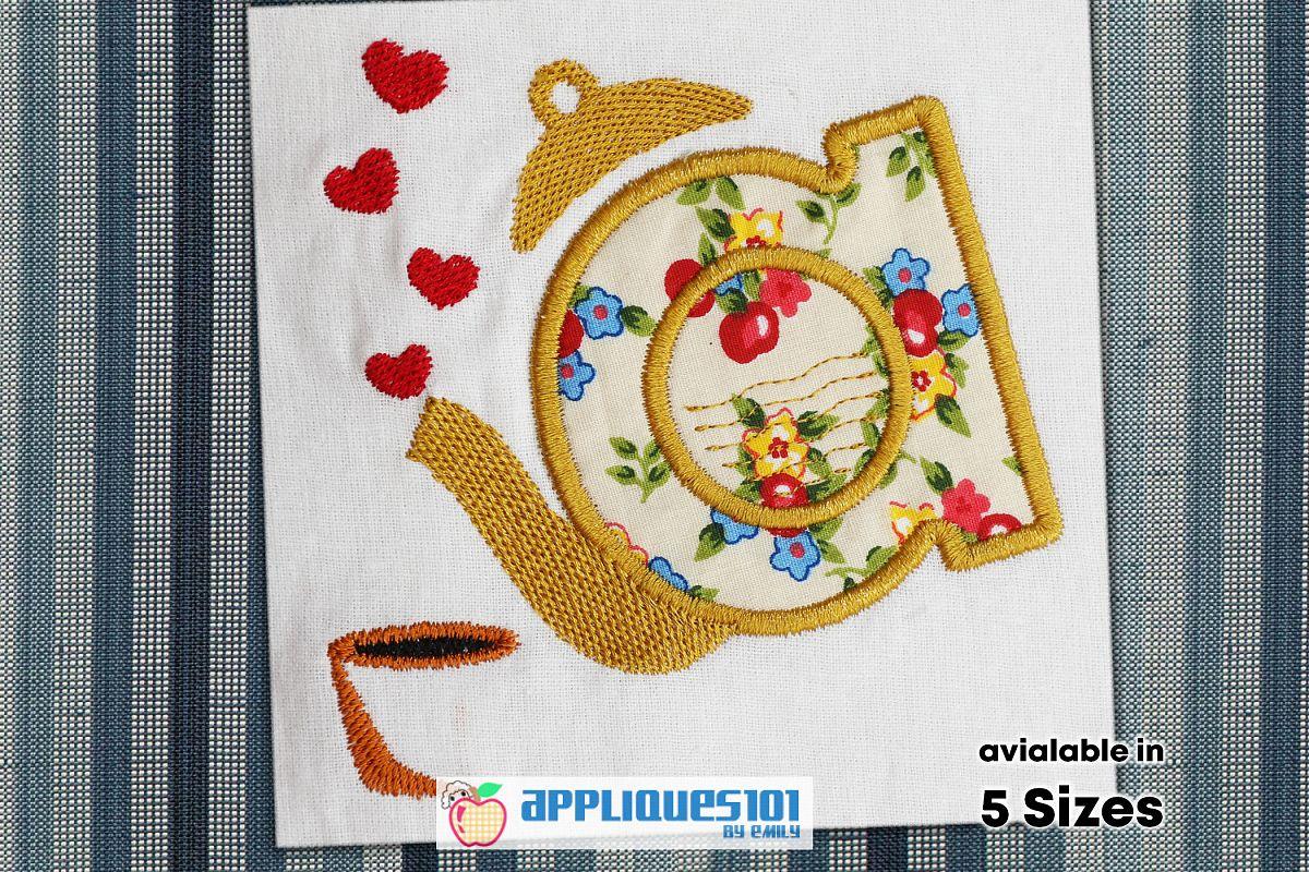 Tea Pot Embroidery Applique Design - Pots example image 1