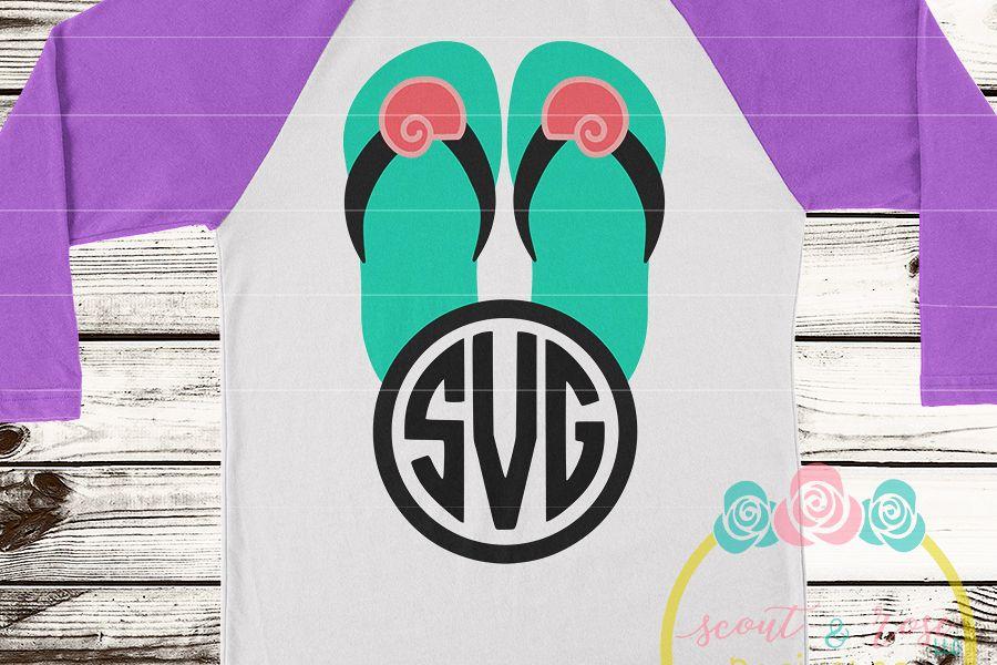 Seashell Flip Flip Monogram Frame SVG DXF PNG example image 1