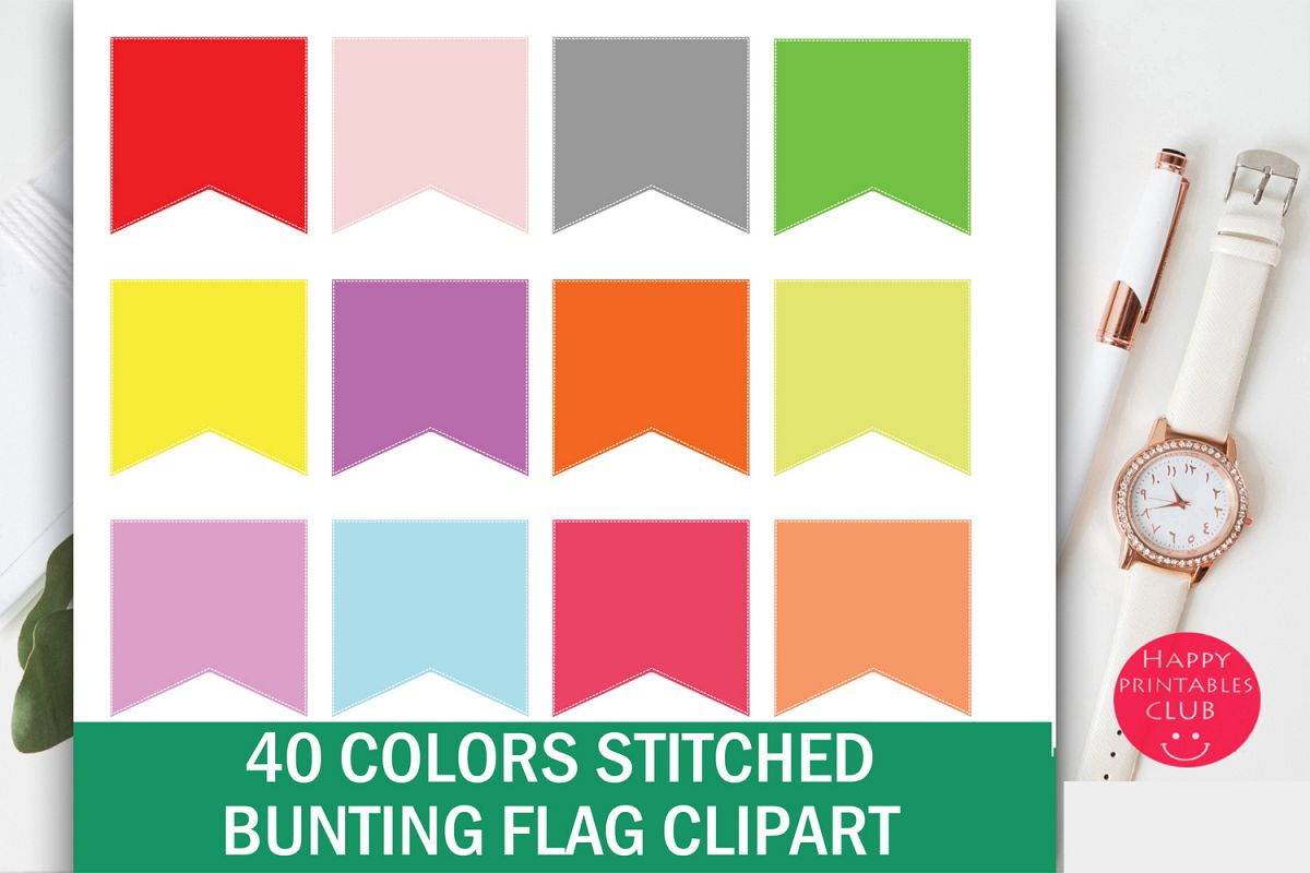 40 Colors Stitched Bunting Flag Clipart example image 1