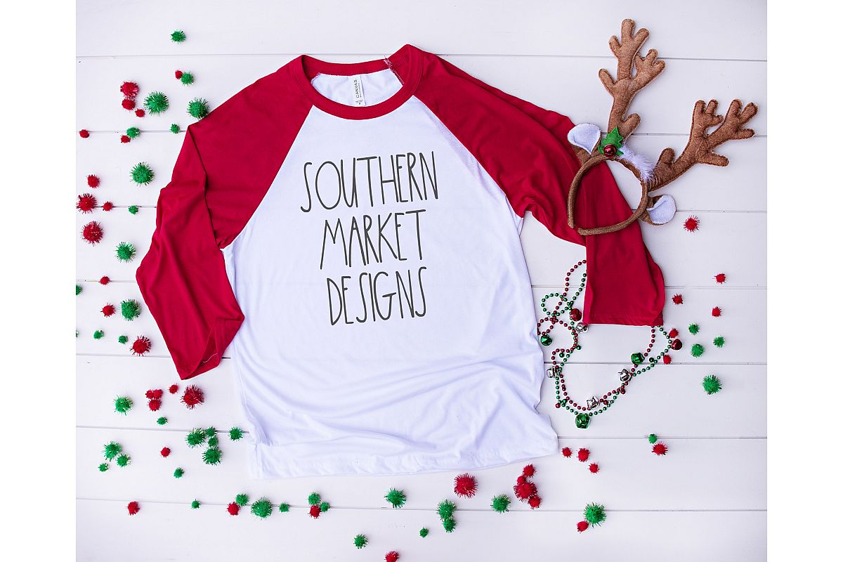 Bella Canvas 3200 Red Christmas Raglan Mock Up Stock Photo example image 1