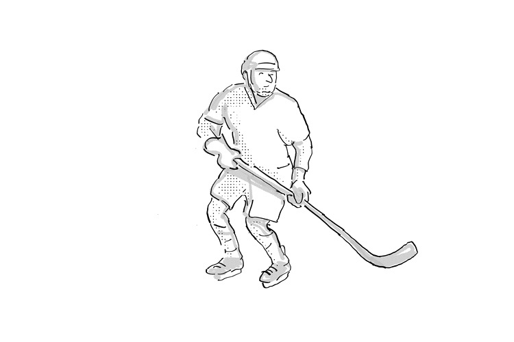 Ice Hockey Player Cartoon Isolated example image 1