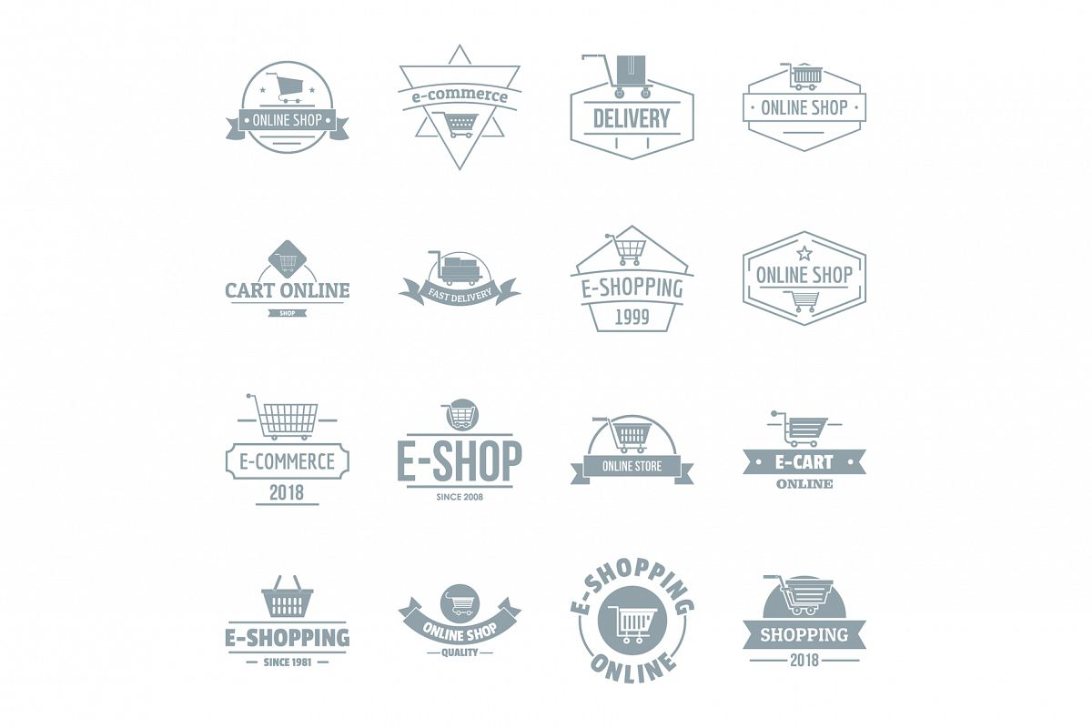 Shopping logo icons set, simple style example image 1