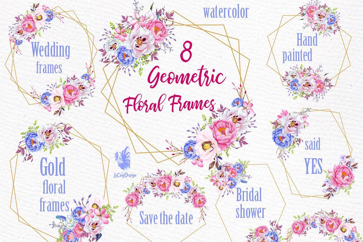 Geometric Frames clipart, FLORAL FRAMES, Wedding Frames example image 1
