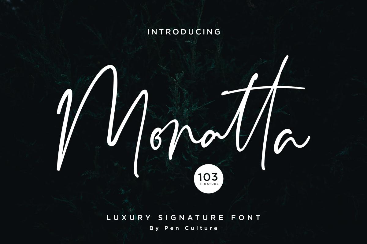Monatta - Luxury Signature Font example image 1