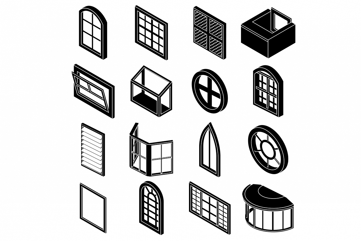 Window forms icons set, simple style example image 1